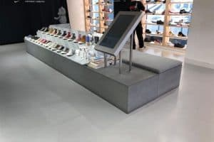 Concrete display for commercial use